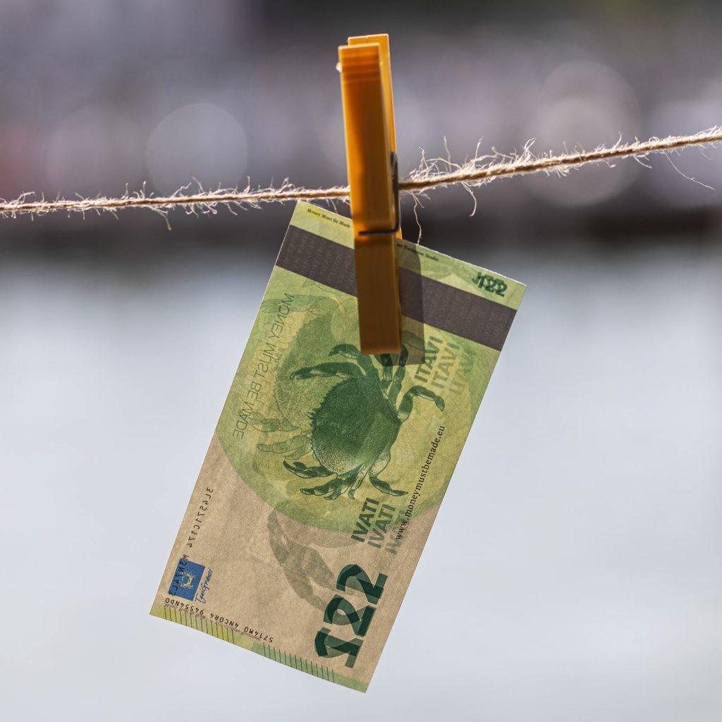 Banconota originale disegnata per il progetto Money Must Be Made
